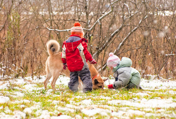 First snow. Little boy and girl playing with dog.