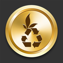 Recycle Symbol on Golden Internet Button