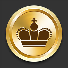 Crown on Golden Internet Button