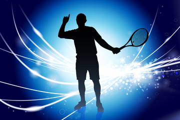 Tennis Player on Abstract Modern Light Background