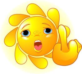 Sun shows a middle finger