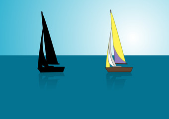 Yacht with yellow-purple sail