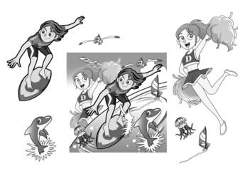 サーフィン&チアガール
