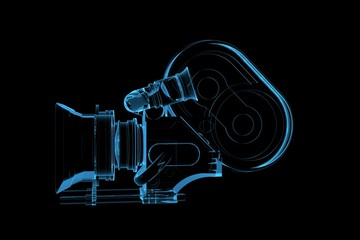 Proffessional video camera 3D rendered xray blue transparent