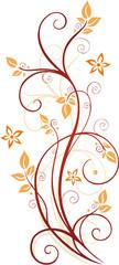 Blumen, Blüten, Ranke, Blätter, floral, filigran, orange, rot