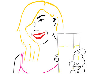 Illustration of the girl offering a drink in a glass