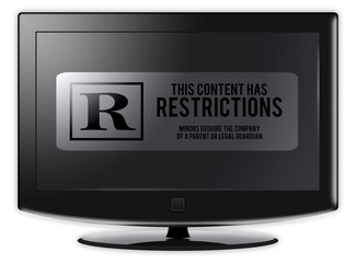 "Flatscreen TV with ""Restrictions"" wording on screen"