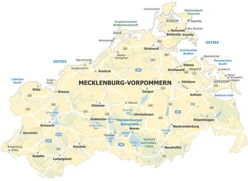 Landkarte Mecklenburg-Vorpommern, Ostseeküste