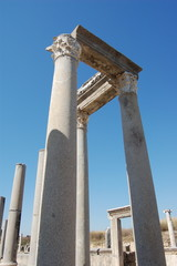 marble columns in perge ancient city ruins