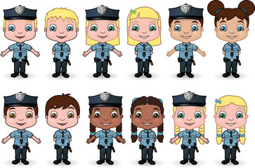 Boys and Girls dressed as police officers - vector illustrations