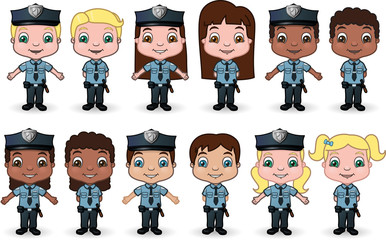 Children dressed as police officers - vector illustration