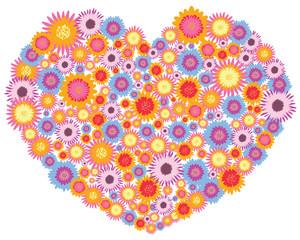 flowers full heart vector