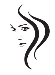 Young woman vector face, fashion symbol