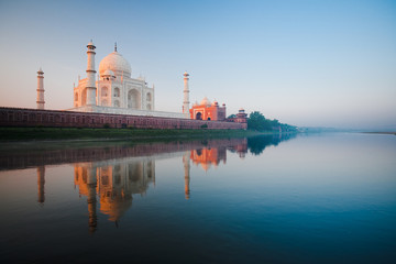 Sunrise at Taj Mahal on Jamuna river