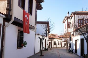Ottoman style renovated houses street in Ankara - Turkey