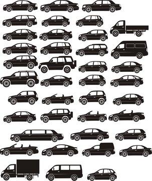 car silhoettes set