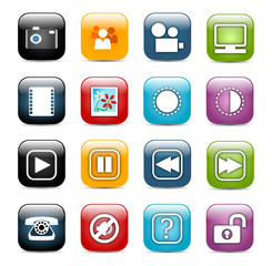 Glossy, rounded corners square icon set 03