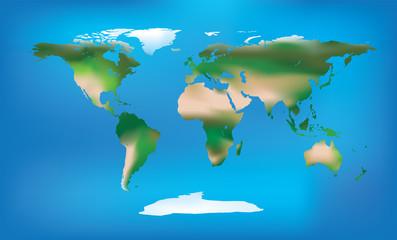 Foto op Plexiglas Wereldkaart World map full colour and detailed land type