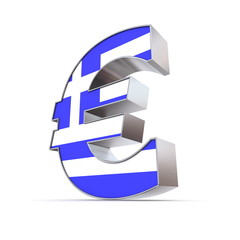 Shiny Euro Symbol - Textured Front - Flag of Greece