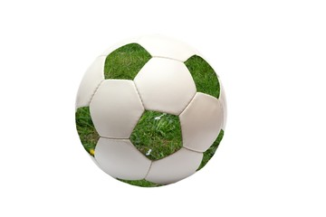 soccer ball with green grass (isolated)