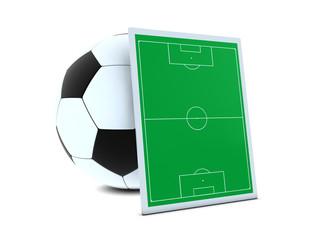 Soccer balls and green field