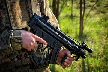 MP5 KURZ submachine gun - finger is off the trigger
