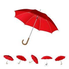 6 red umbrella set