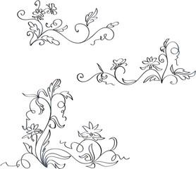 Ornaments imitation ink drawing