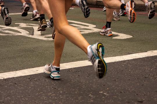 Woman competing in marathon