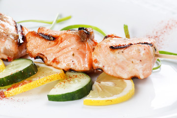 grilled salmon with lemon.