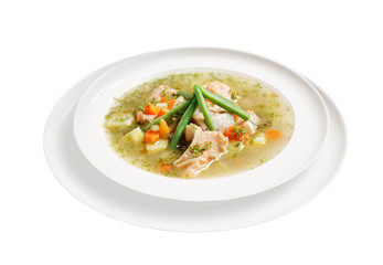 Appetizing soup with meat and vegetables in plate