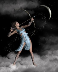 Wall Murals Dragons Diana (Artemis) the Huntress with Crescent Moon