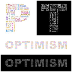 OPTIMISM. Word collage.