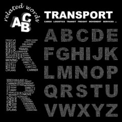 TRANSPORT. Alphabet. Illustration with association terms.