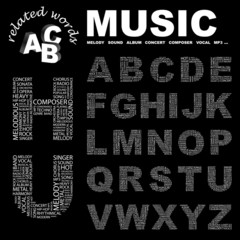 MUSIC. Alphabet. Illustration with different association terms.