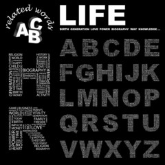 LIFE. Vector letter collection.
