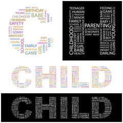 CHILD. Wordcloud illustration.