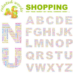 SHOPPING. Wordcloud alphabet with different association terms.