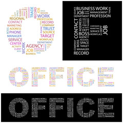 OFFICE. Illustration with different association terms.