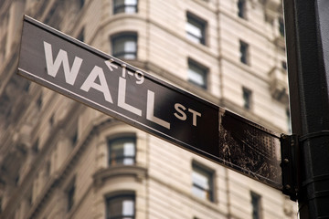 Wall street sign in New York city