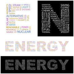 ENERGY. Wordcloud vector illustration.