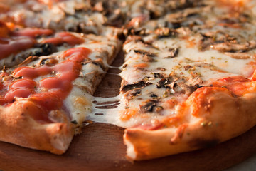 Pizza on wooden plate 6