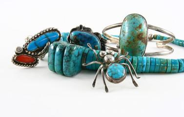 Turuoise jewelry close-uo