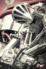 Wall Mural - rain soaked chromed motorcycle parts