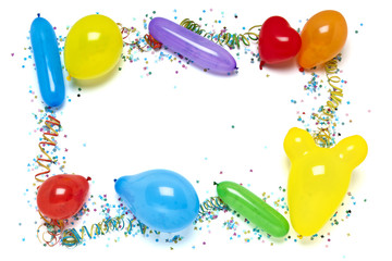 balloons and confetti border