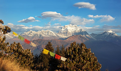 Annapurna mountains and Tibetan prayer flags