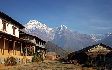 Remote Village in Nepal nestled amongst the Annapurna mountains