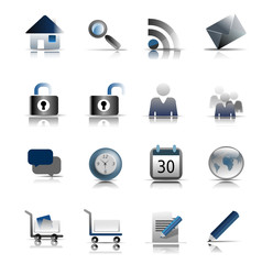 Web Icons, Blue and Grey set One