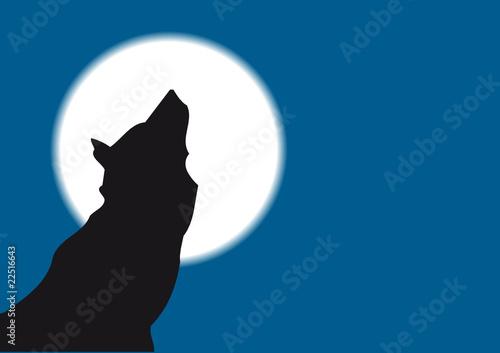 """Colección De Silueta De Lobo: """"lobo Aullando A La Luna"""" Imágenes De Archivo Y Vectores"""