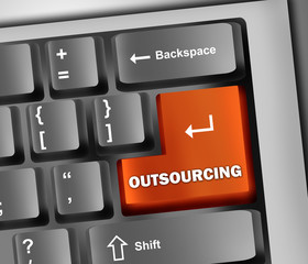 "Keyboard Illustration with ""Outsourcing"" Button"